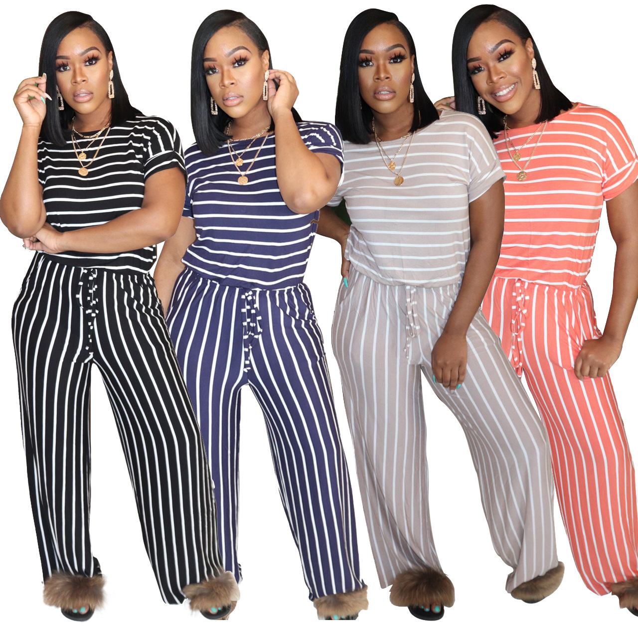 H166f12237c554f9599521048b34916ccW - Fashion Women Stripes Jumpsuits Summer New Arrival Short Sleeves Crew Neck Women Casual Rompers Loose Daily Wear Outfits