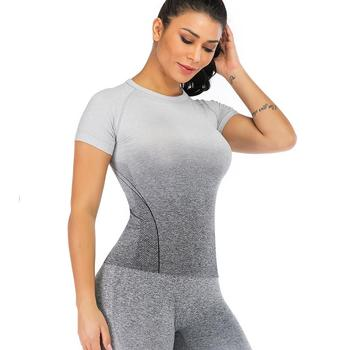 Women short sleeve compression T shirt