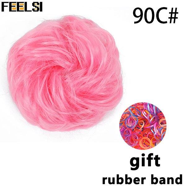 FEELSI синтетические гибкие волосы булочки кудрявые резинки шиньон эластичные грязные волнистые резинки для наращивания конского хвоста для женщин - Цвет: T1B/350