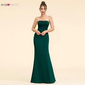 Image 2 - Elegant Dark Green Evening Dresses Long Ever Pretty A Line V Neck Sleevelss Lace Appliques Evening Gowns Abiye Gece Elbisesi
