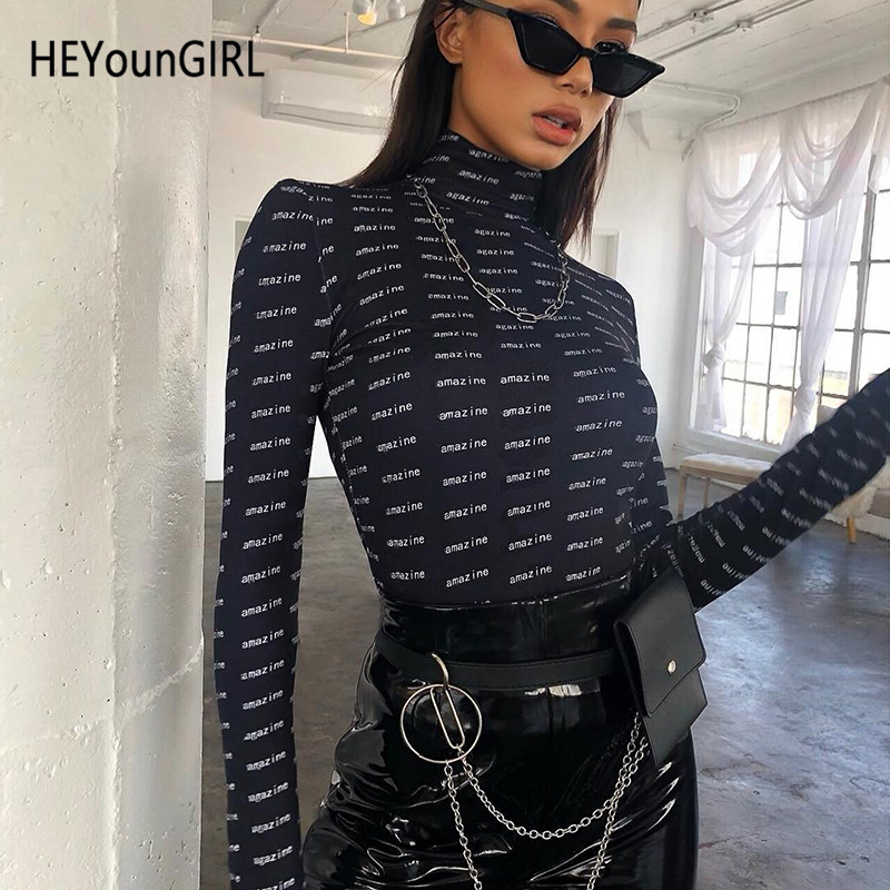 HEYounGIRL Letter Printed Black Bodysuit Turtleneck Bodycon Long Sleeve Jumpsuit Ladies Autumn Basic Casual Body Women High Neck