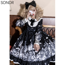 Sweet Cute Gothic Lolita One Piece Op Dress Women Kawaii Girls Palace Tea Party Vintage Ruffle Black Big Hem Daily Dresses 2021