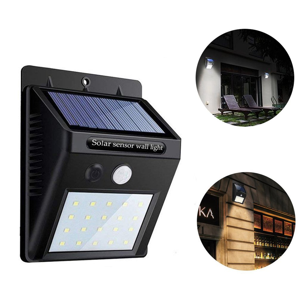 20 LED impermeable Sensor Solar luz Sensor de movimiento luz de pared jardín exterior patio lámpara de calles ahorro de energía luz LED colgante