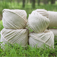 1mm-10mm 25M-500M Long Natural Beige Rope For Handmade Gift DIY Home Wedding Accessories Twisted String Cotton Cord Macrame Rope