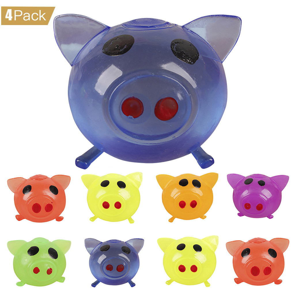 4Pcs Pig Cute Anti Stress Splat Water Plastic Pig Ball Vent Toy Venting Sticky Pig Squishy Kids Toys Juguetes Brinquedos игрушки