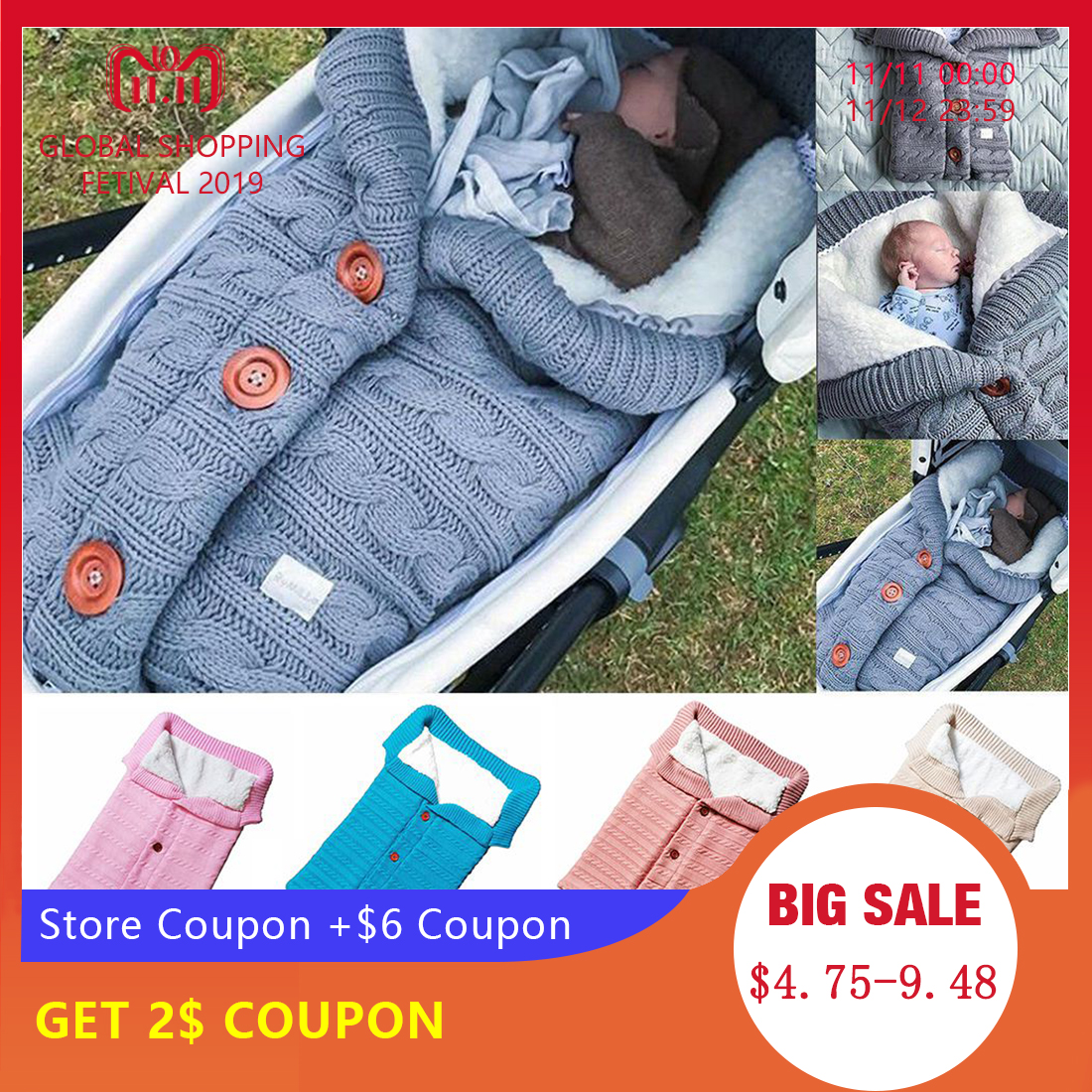 CYSINCOS Baby Sleeping Bag Envelope Winter Kid Sleepsack Footmuff Stroller Knitted Sleep Sack Newborn Swaddle Knit Wool Slaapzak