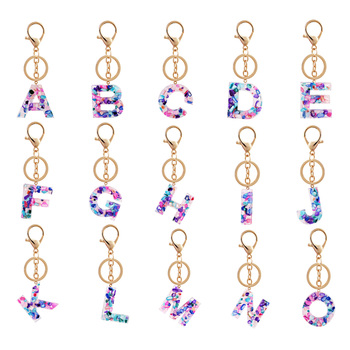 Fashion Letter Keychain Trendy Creative Colorful 26 English Letter Initial Resin Handbag Keyring Accessories For Women trendy rhinestone cut out winebottle keyring