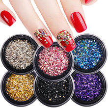 1 box of 7 grams Manicure colorful small gravel nail accessories Mixed shredded diamond microbeads super sequin manicure