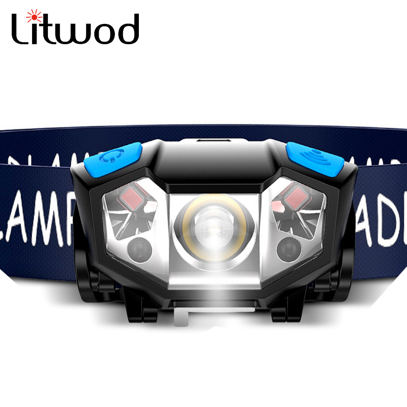T19 Z40 Körper Motion Sensor Mini Wiederaufladbare LED Scheinwerfer 3000LM Tragbare LED Kopf Licht Lampe Camping Taschenlampe USB Laterne Q5