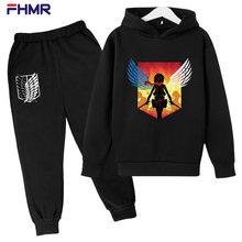2021 Spring and Autumn Children Boys and Girls Casual Wear Fashion Sports Attack Giant Printing Hooded Two-piece Cotton