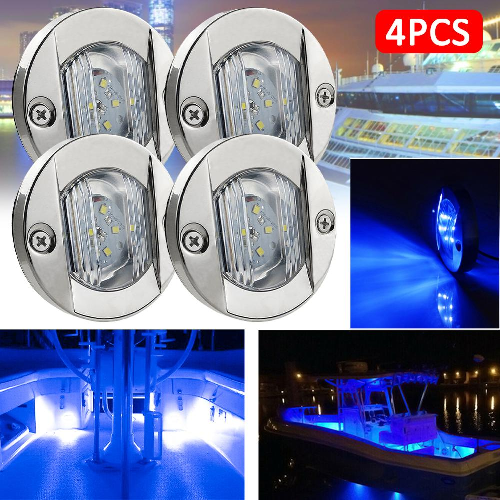 DC 12V Marine Boat Transom LED Stern Light Round Stainless Steel Warm White White Blue LED Tail Lamp Yacht Accessory Waterproof