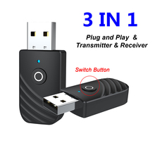 3 in 1 USB Bluetooth 5.0 Audio Transmitter Receiver Adapter Music Speakers Hands free Calling for TV PC Headphones