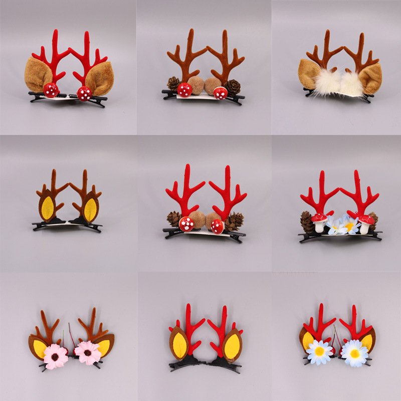 New Cute Antler Hair Clips Christmas Year Red Headband Moose Mushroom Forest Nut Accessories Hairpins