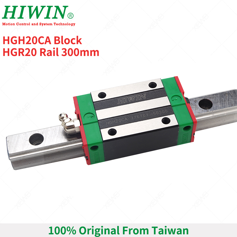 HIWIN 1 pcs HGH20CA Blocks Carriage with HGR20 Linear Rail 300mm 1pcs HGH20 Linear Guideways for