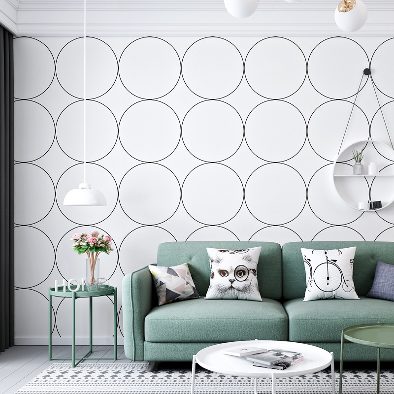 Nordic Wallpaper Art Geometry Circle Plaid INS Women's Harajuku Wind Japanese Style Bed & Breakfast Room Background Wallpaper