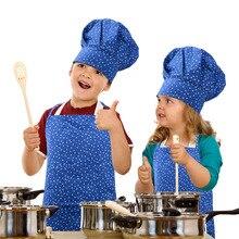 Chef Hat Set Child Apron Kids Sleeve Pocket Kindergarten Kitchen Baking Painting Cooking Drink food Adjustable