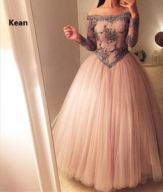 Of The Shoulder Muslim Evening Dress Full Sleeve Applique Ball Gown Islamic Dubai Kaftan Saudi Arabic Evening Gown Prom Dress