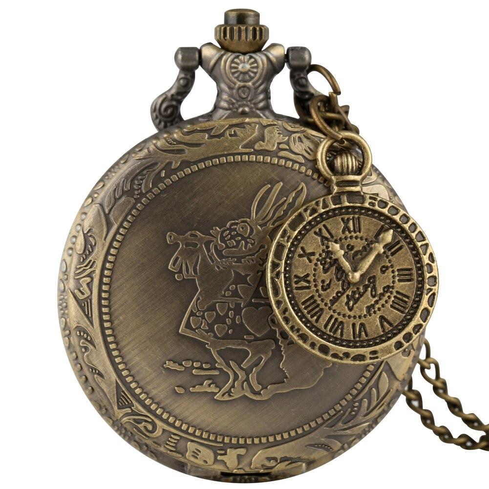 Antique Bronze Pocket Watches Rabbit Pattern Pendant Watch With Nice Accessory Necklace Chain Steampunk Clock Reloj De Bolsillo