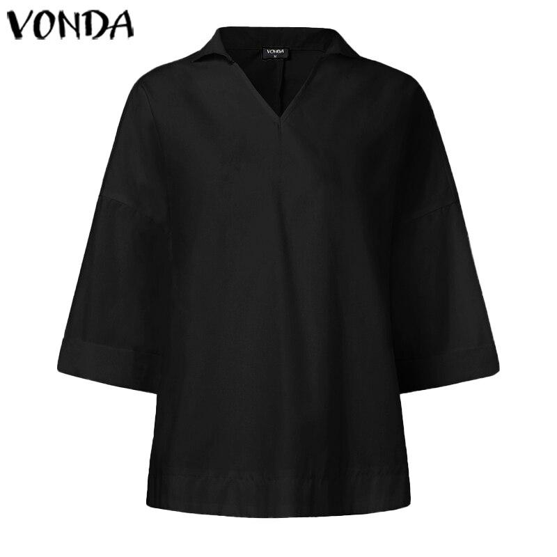 Женские блузки и топы VONDA, Однотонные блузки с отложным воротником и рукавом 3/4, свободные богемные блузы большого размера на лето и весну