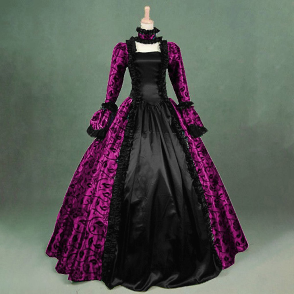 Gothic Medieval Dresse Cosplay Costumes For Women Middle Ages Plus Size Floral Dress Ball Gowns Vintage Robes Retro Vestidos