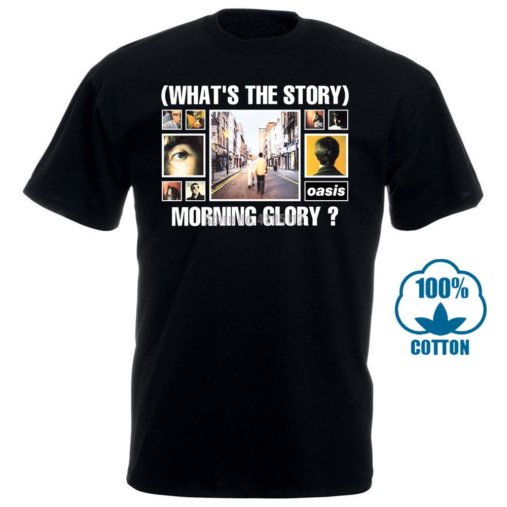 100% Cotton T Shirts Brand Clothing Tops Tees New Oasis What'S The Story Morning Glory Men'S T Shirt