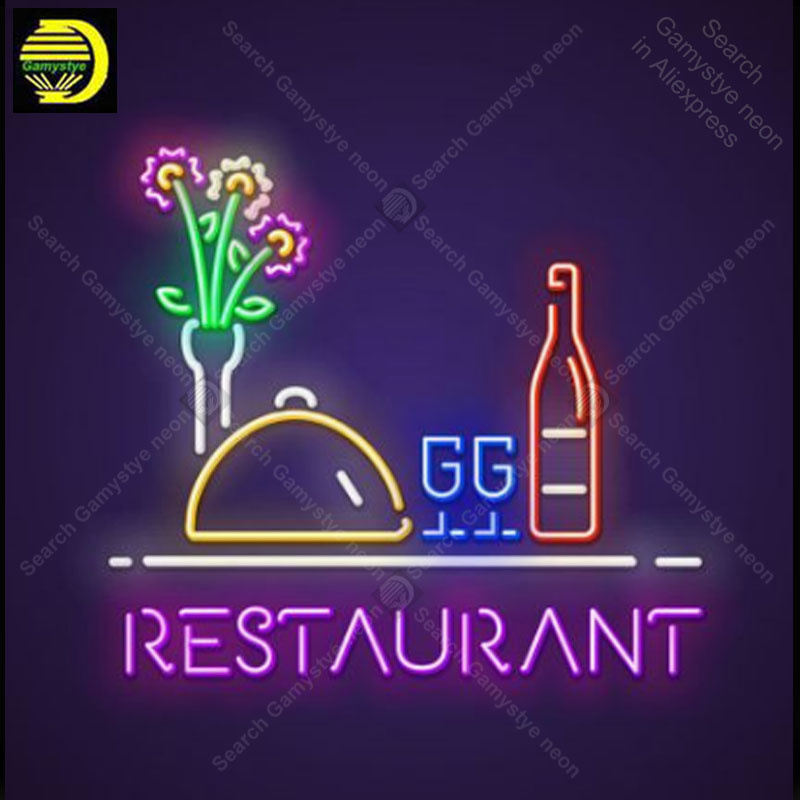 Neon Sign for Restaurant Flower Neon Bulb sign handcrafted restaurant neon signboard wall lights anuncio luminos Advertise image