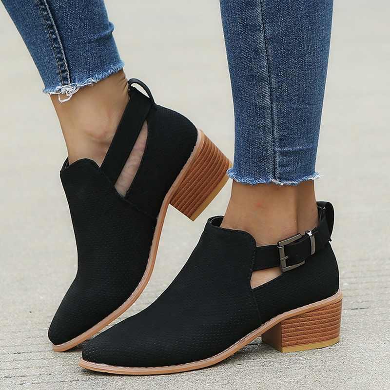 נשים מגפי אופנה מקרית גבירותיי נעלי מרטינס מגפי זמש עור אבזם מגפי עקבים גבוהים רוכסן שלג נעלי לfemme