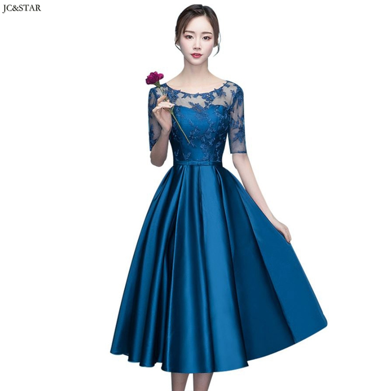 Vestido Madrinha New Lace Satin Round Neck Half Sleeve ALine Navy Blue Bridesmaid Dress Tea-Length Robe Demoiselle D'honneur
