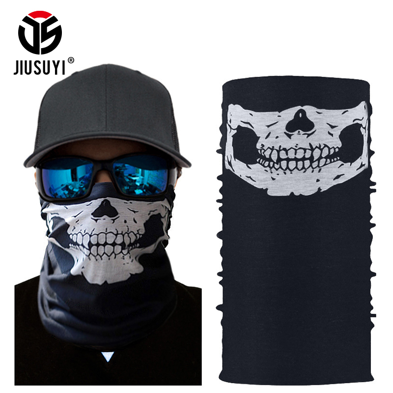 Ghost Skull Head Scarf Neck Warmer Tube Half Face Halloween Bandana Headband Military Army Tactical Paintball Neckerchief