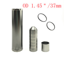"""L 6"""" OD 1.45"""" Solvent Trap 1/2x28 2 in 1 Threads Black Metal Gray 7 Cups + Spacer with 2 Rubber O Rings 5/8 24 Car Fuel Filter"""