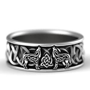 Huitan Men Ring Wolf Viking Mythology Gift Defense-Totem Punk Rock Hip-Hop Giant Nordic