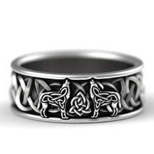 Huitan Viking Nordic Mythologie Riesen Wolf Männer Ring Verteidigung Totem Wolf Mode Hip Hop Rock Unisex Finger Ring Punk Geschenk