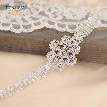 TOPQUEEN S98 серебряный бриллиантовый пояс роскошный Кристальный свадебный пояс свадебное платье драгоценный пояс со стразами и блестками для свадебного платья