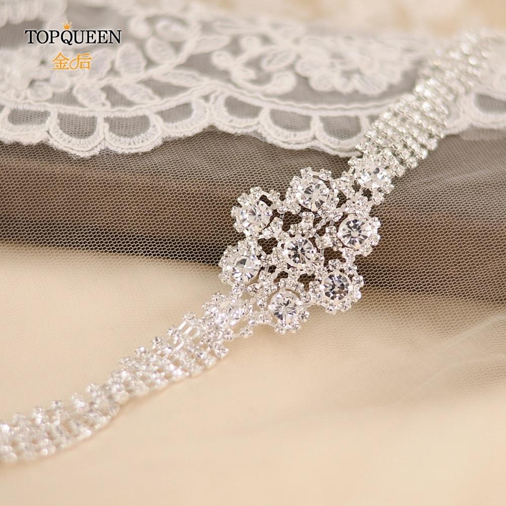 TOPQUEEN S98 Silver Diamond Belt Luxury Crystal Wedding Belt Wedding Dress White Rhinestone Belt Wedding Belt For Dress Girdles