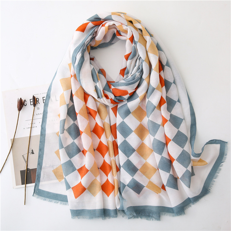 2019 Fashion Geometric Square Plaid Fringe Viscose Shawl Scarf Women High Quality Autumn Wrap Stole Bufandas Muslim Hijab Snood