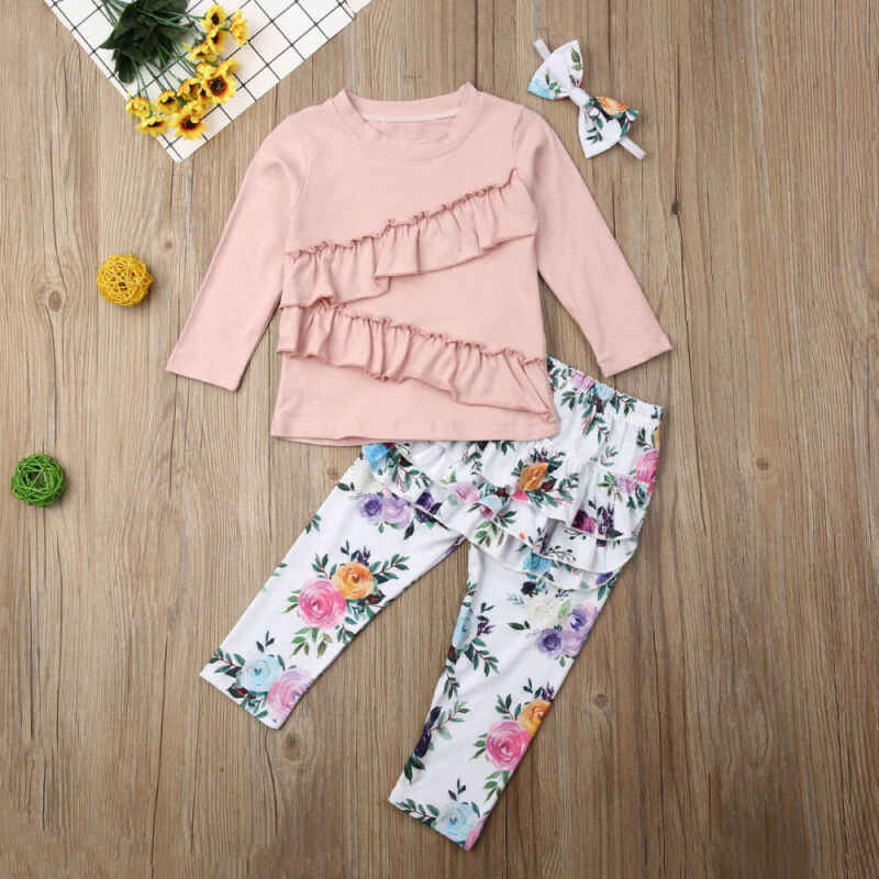 LOOZYKIT 3PCS Toddler Baby Girl Autumn Clothes Sets Pink Long Sleeve Ruffle Tops T-shirt + Floral Pants Headband 1-6Y Outfit