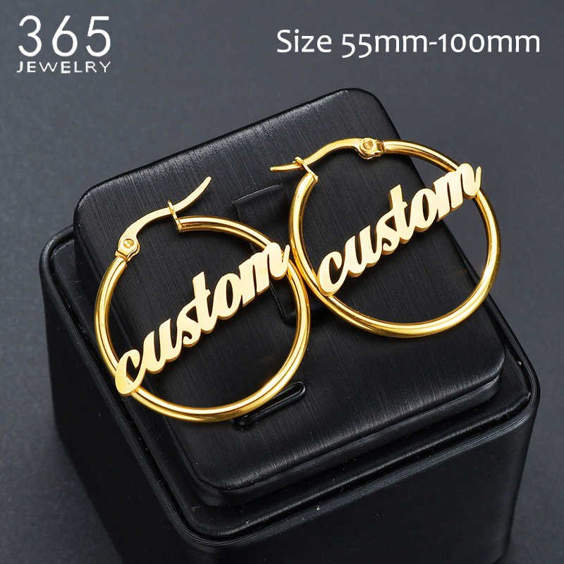 1 Pair Fashion Stainless Steel Custom Name Big Earrings Women Personalized Initial Cursive Nameplate Stud Earring Wedding Gift