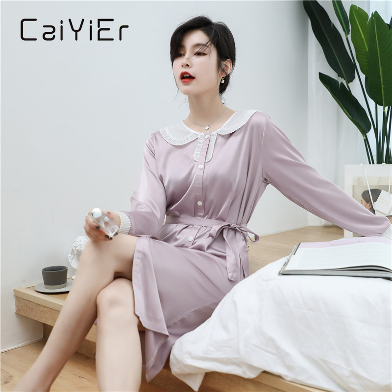 CAIYIER 2020 Silk Nightgown Sexy Lace Sleepwear Long Sleeve Turn-down Collar Night Dress Lingerie Bathrobe Gown Large Size M-3XL 2