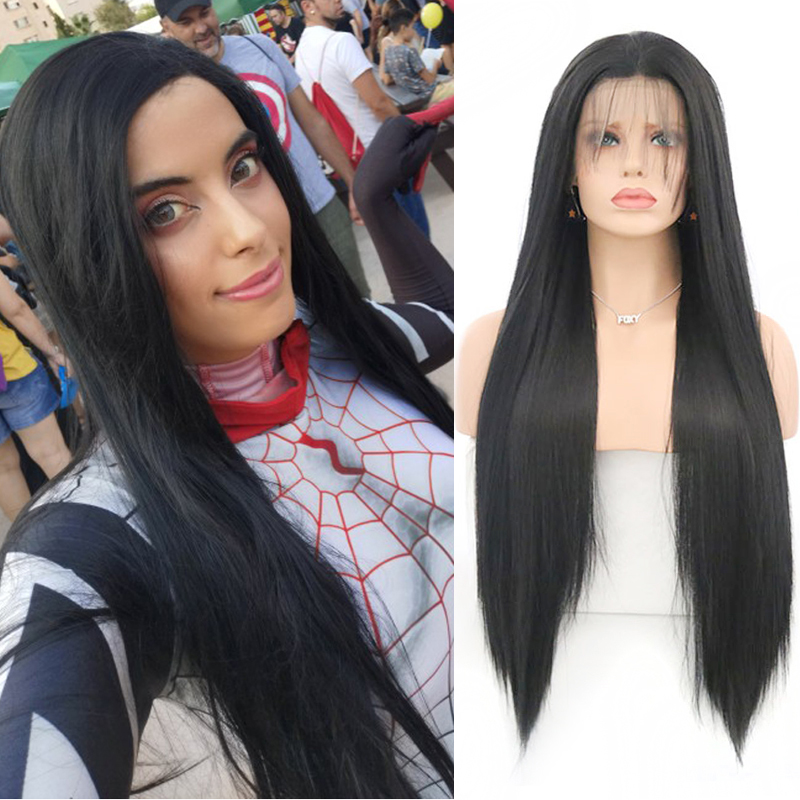 Charisma Heat Resistant Fiber Hair Synthetic Lace Front Wig With Baby Hair Long Silky Straight Hair Lace Wigs For Black Women
