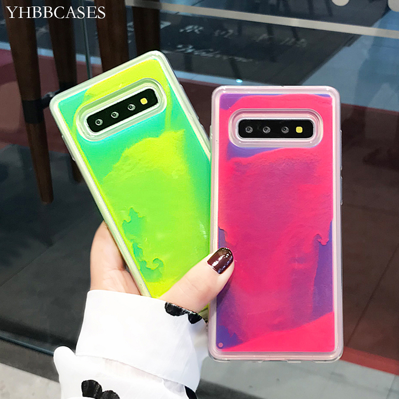 YHBBCASES Sand-Cover Liquid Glitter Neon S9 Note 8 Glow-In-The-Dark Samsung Galaxy S10-Plus