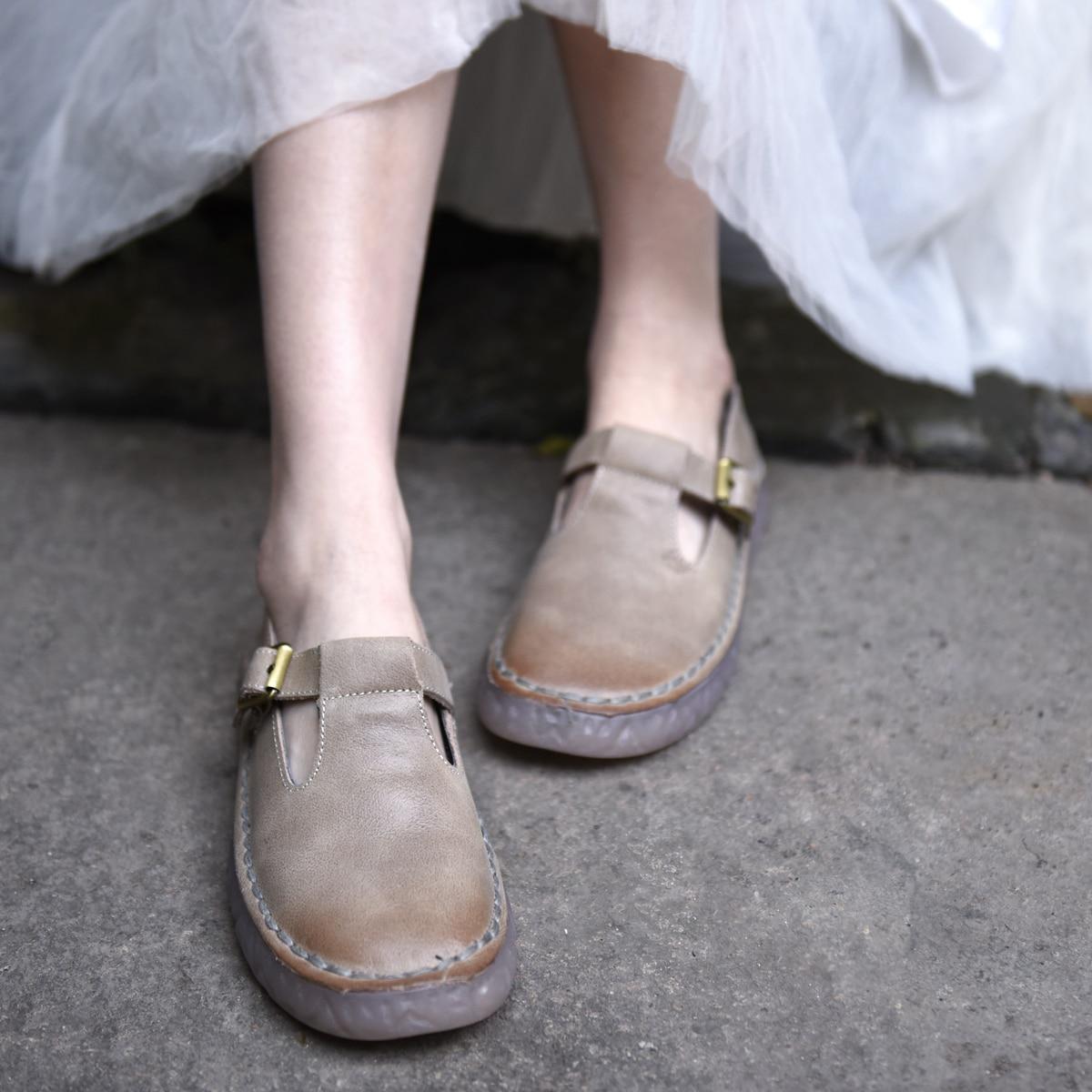 Artmu Original Retro Flat Sole Women's Shoes Soft Bottom Slip-on Loafers Genuine Leather Handmade Shoes Simple Versatile Shoes