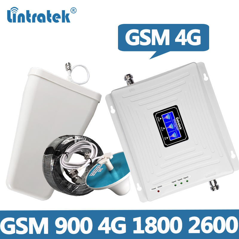 Lintratek Signal Booster 4G 1800 2600MHz GSM 900 Repeater Tri Band Amplifier 900 1800 2600 2G 4G Repeater For Cell Phone Signal