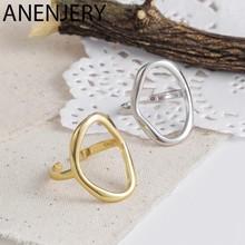 ANENJERY Vintage nieregularne gładkie blokady łańcucha Thai srebrny pierścień 925 Sterling Silver regulowany rozmiar pierścień biżuteria hurtowych S-R589