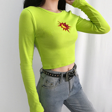 Fashion ribbed neon green summer Sun Embroidered T-shirt Round Neck Tops Women Casual Long Sleeve T-shirts tees casual