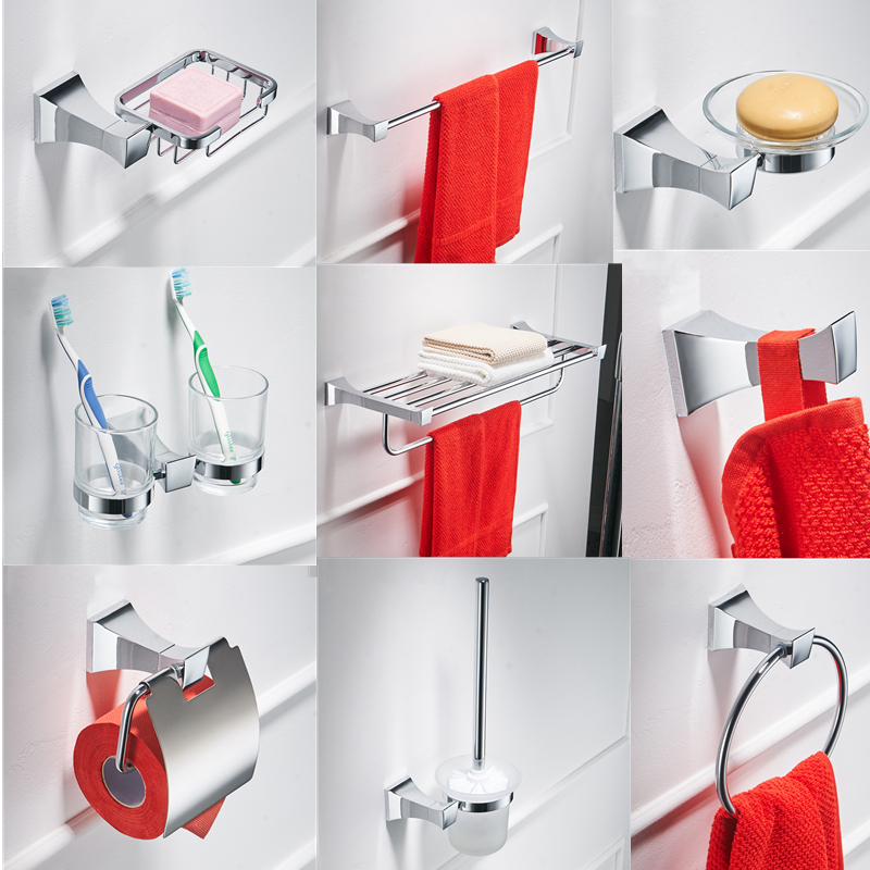 Chrome Bathroom Hardware Set Wall Mount Toilet Paper Holder Bath Accessories Brass Toothbrush Holder Metal Bathroom Towel Holder image