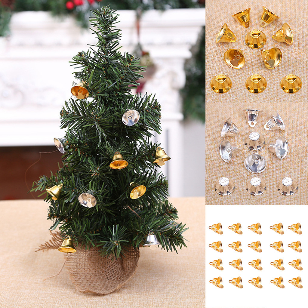 QIANHUA Jingle Bells Gold Silver Pet Hanging Metal Bell Wedding Christmas Decoration Accessori Campane per Artigianato 10 mm Oro 100 Pezzi