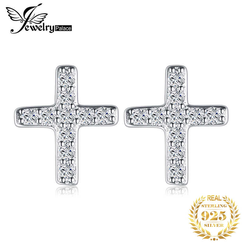 JPalace Cross Cubic Zirconia Stud Earrings 925 Sterling Silver Earrings For Women Girls Korean Earrings Fashion Jewelry 2019