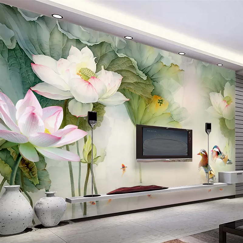 Chinese Style 3D Stereo Lotus Pond Mural Wallpaper 3D Living Room TV Sofa Study Background Wall Sticker Self-Adhesive Waterproof