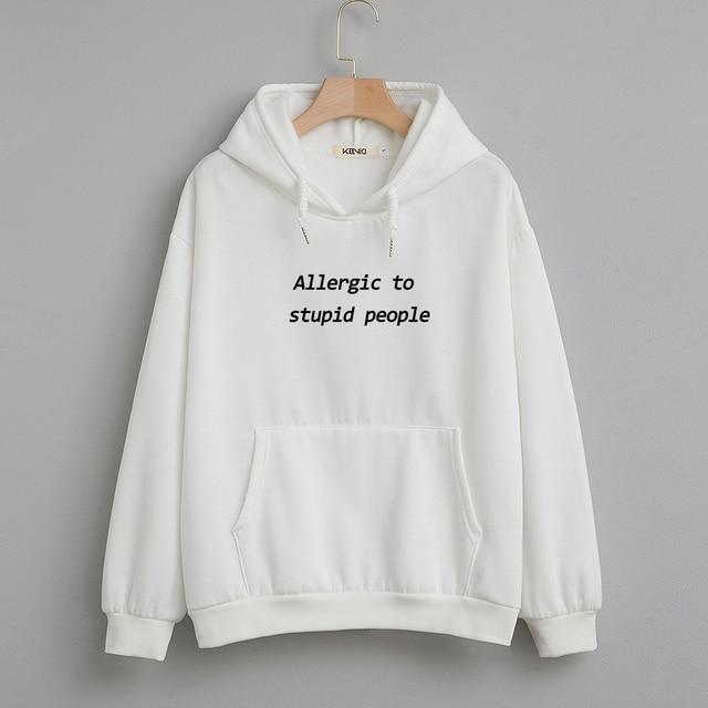 Cotton Sweatshirt Women Oversized Hoodie Female Harajuku Allergic To Stupid People Letter Print Sweatshirts Kpop Plus Size Tops 4