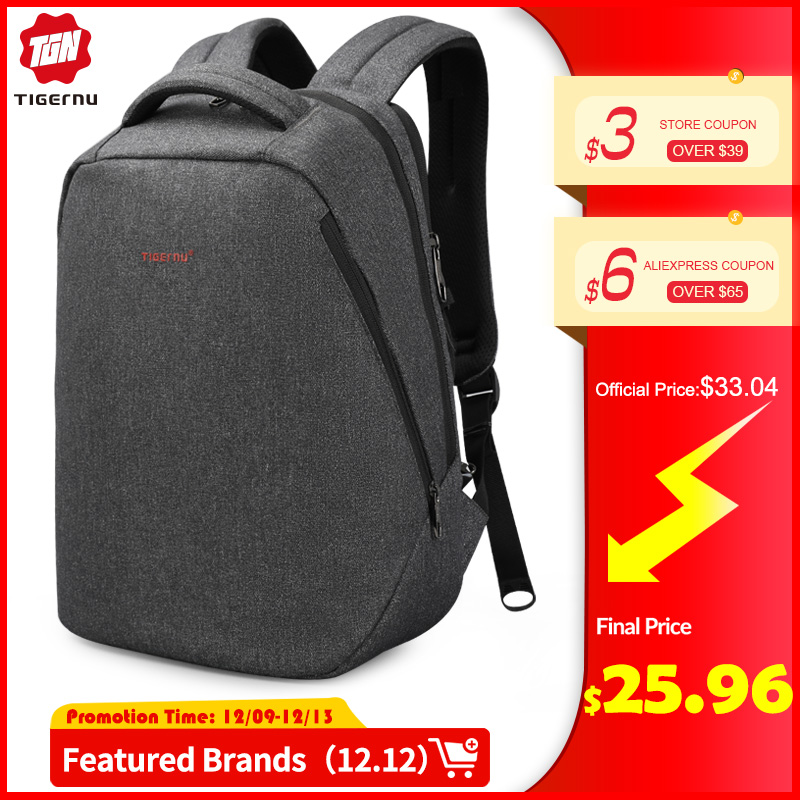 Tigernu Brand USB Charging Backpacks Men Light Slim Minimalist Fashion Women Backpack School Bag 14